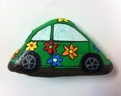 Flower Power Car Hand Painted Rock Art