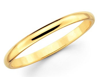 10K Solid Yellow Gold 2mm Plain Wedding Band Ring