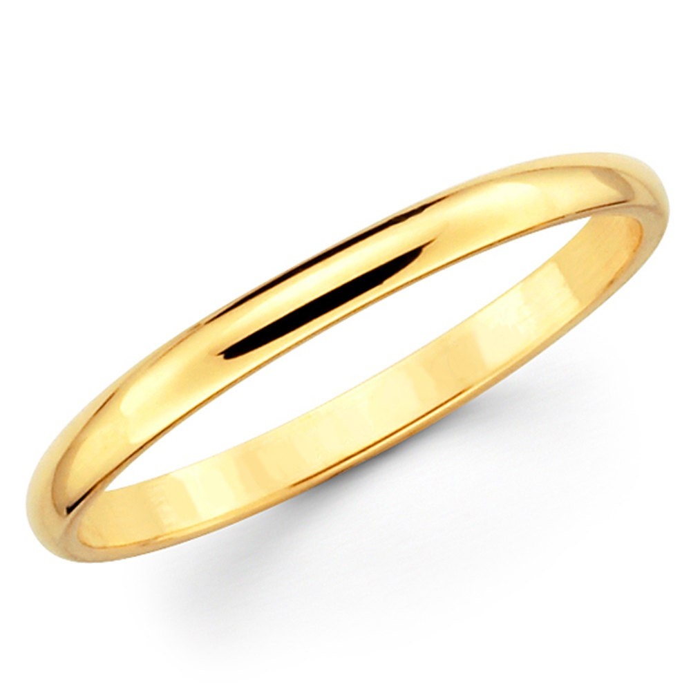 14k Yellow Gold High Polished 2mm Traditional Milgrain: 14K Solid Yellow Gold 2mm Plain Wedding Band Ring