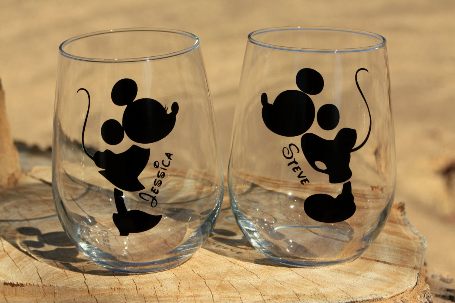 mickey and minnie mouse stemless wine glasses engagement or