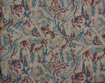 "Peach/Blue/Wine Printed Crinkled Chiffon 100% Silk Fabric 44"" Wide, By The Yard (TS-7455)"