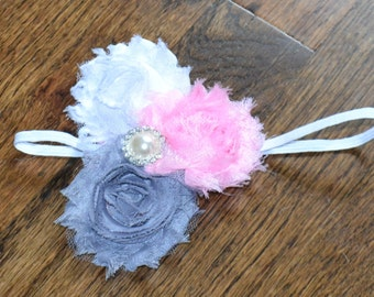 Pink, Gray & White Triple Flower Headband with Rhinestone and Pearl Center