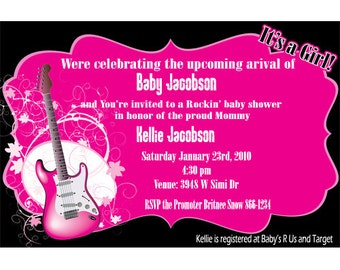Rockin Guitar Baby Shower Party Invitations Digital File or Printed Pink or Green with Black FREE SHIPPING