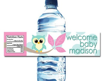 Owl Baby Shower Water Bottle Wrapper Party Favor Digital or Printed FREE SHIPPING