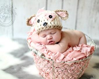 Crocheted puppy hat, baby gift, puppy beanie, baby accessory, girl puppy, puppy hat, baby shower gift