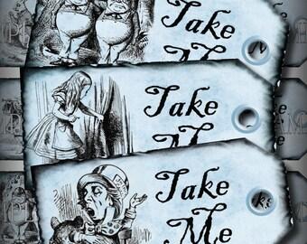 Blue Take Me Alice in Wonderland Favor Tags Printable Instant Download Digital Collage