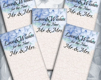 Blue Hydrangea Wedding Wish Tags Printable Instant Download  Digital