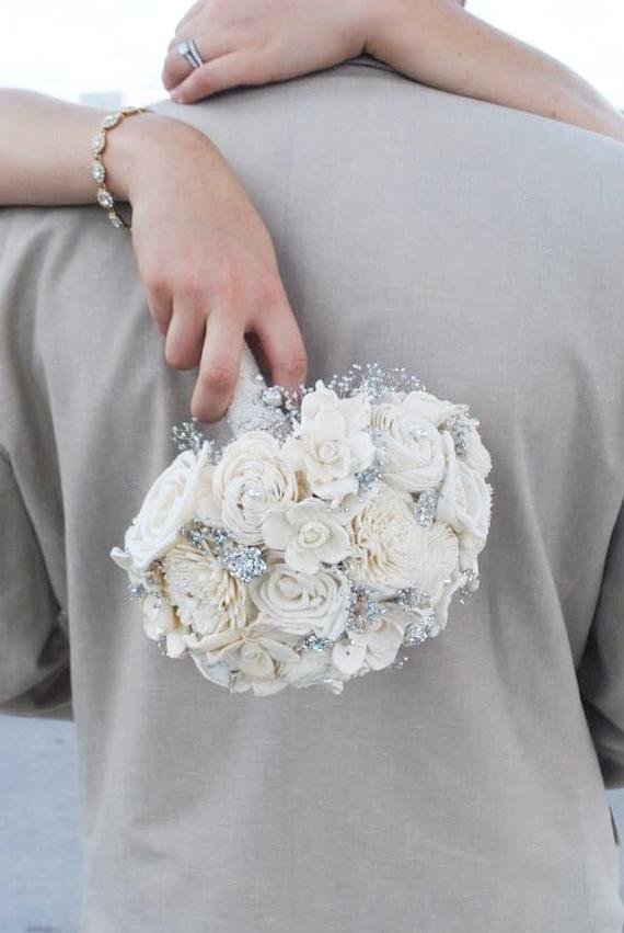 Button Bridal Bouquet Etsy : Items similar to handmade vintage wedding bouquet sola