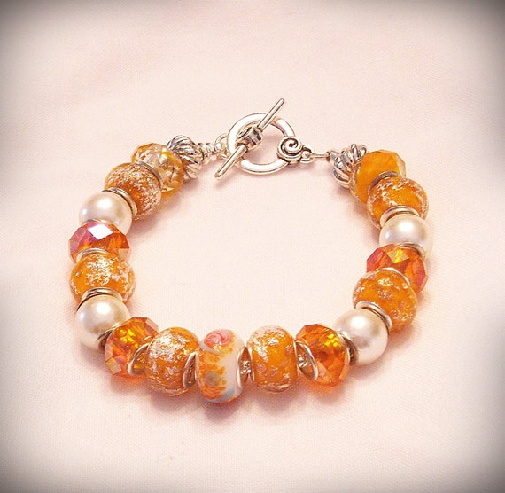 "Orange and Pearl ""Dreamsicle"" European Style Bracelet with Large Hole Beads"
