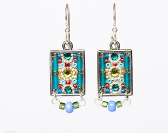 Green and blue swarovski crystal rectangle micro mosaic earrings