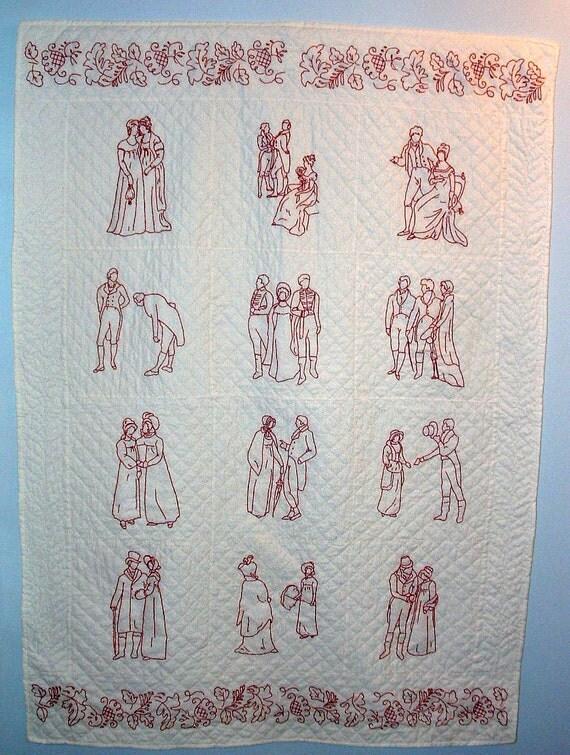 """Regency Redwork, a story book quilt based on Jane Austen's """"Pride and Prejudice"""""""