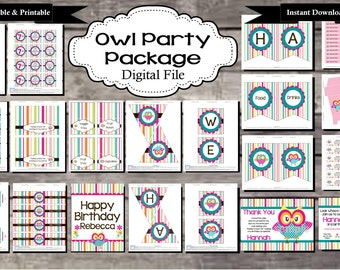 Owl Birthday Party Package - Digital, Editable, Printable File - Instant Download