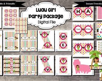 Luau Birthday Party Package - Digital, Editable, Printable File - Instant Download