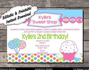 Candy Invitation Sweet Shop Birthday Party - Editable Printable Digital File with Instant Download