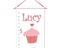 Growth Chart - Personalized Growth Chart - Cupcake Growth Chart - Canvas Growth Chart - Girl Growth Chart