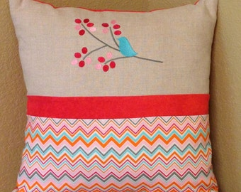 Pillow cover bird on branch 16x16 FREE SHIPPING