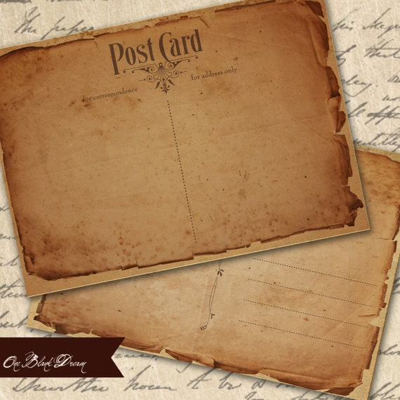 Old Ragged Vintage Postcard ATC Backgrounds or Tags Set 1 Printable Digital Collage Sheet Instant Download