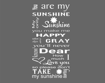 Nursery Decals- You Are My Sunshine Nursery Decal - Nursery Wall Decal - Nursery Decor- Nursery Art