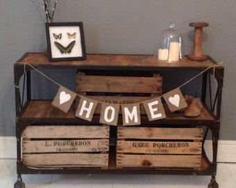 HOME burlap / hessian bunting banner