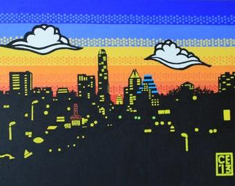 Original Austin Skyline Pop Art Style Painting