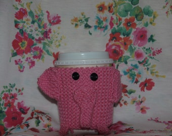 knitted elephant cup cosy