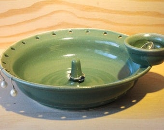 Ceramic Jewelry Bowl/ Holder with Side Ring Holder