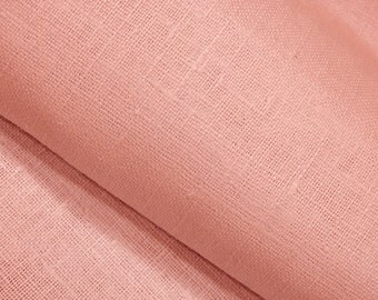 """Baby Pink light Linen Burlap Fabric Decorator - Dense Heavy weight - 39"""" W - ECO-friendly - Sold By The Yard"""