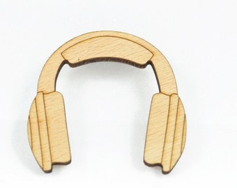 WOOD HEADPHONES  BROOCH - Laser Cut Natural Wood Headphones Brooch (5cm x 5cm)