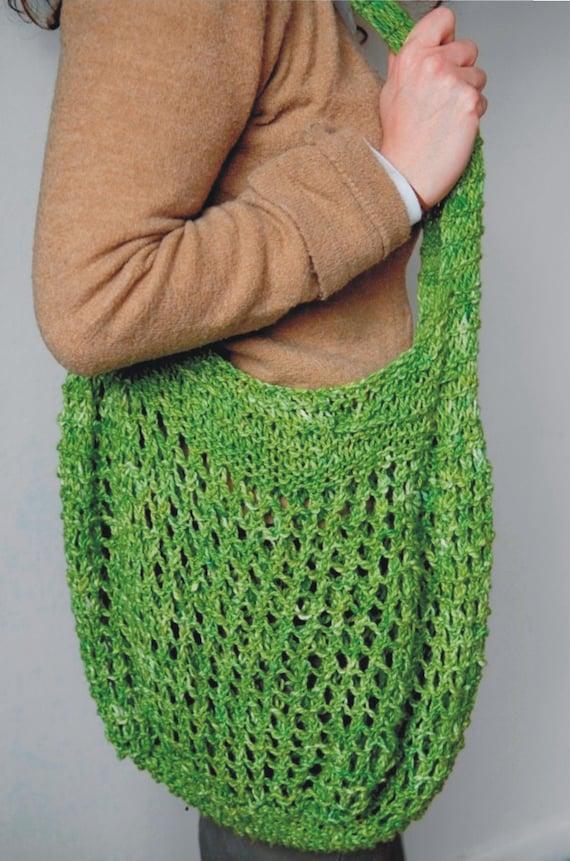 Knitted Market Bag Pattern : Cotton Market Bag Knitting Pattern PDF by woodstocknits on Etsy