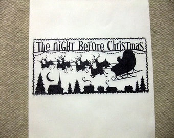 Twas the Night Before Christmas, Glassine Bags, Favor, Treat, Gift, Bags, Set of 6 or 12