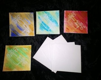 Dragonfly 3 x 3 blank cards with envelopes set of 4