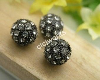 10pcs 12mm alloy Gunmetal rhinestone Beads charm pave disco ball bracelet/necklace bead