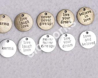 """Wholesale 20 pcs 3/4""""(20mm)  Lovely Letter Antique Bronze/Silver words charm pendant"""