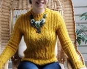 Mustard yellow Knitted sweater women Knit yellow sweater for women Small knit sweater Knit sweater Hand knit Yellow Christmas gift