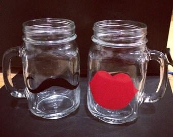 Mustache and Lips Mason Jar drinking glasses
