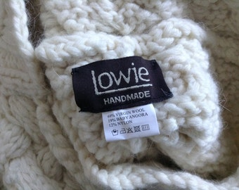 Original Lowie handmade muffler with hood in vergin wool and angora, mint condition