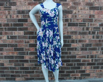 SALE - 1980s Blue Hawaiian Sundress - M