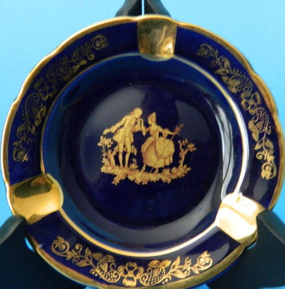 items similar to limoges france veritable porcelaine d 39 art cobalt blue and gold ashtray the. Black Bedroom Furniture Sets. Home Design Ideas
