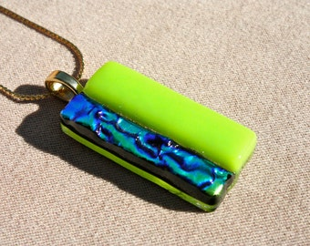 Fused Glass Pendant - Lime Green and Green/Blue/Gold Dichroic Glass