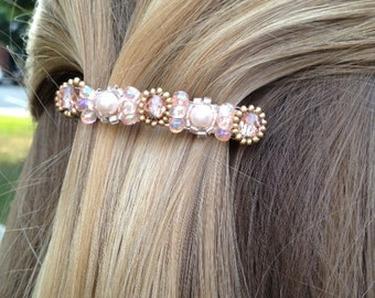 Pearl and Pink Champagne Crystal Beaded hair barettes, wedding accessories, hair clips