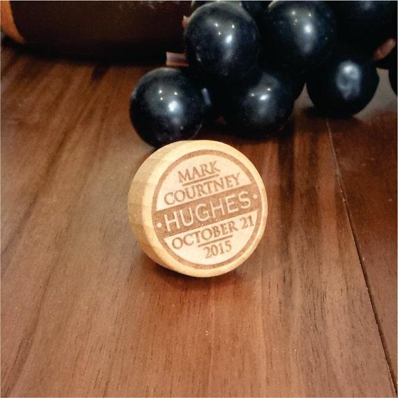 Engraved Wine Bottles For Wedding Gift : Wine Bottle Cork Engraved for Wedding Favors, Bridal Showers, Newlywed ...