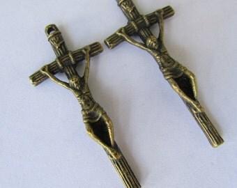 2pcs. of  Antique Brass Cross Charm Pendant
