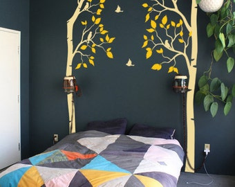Tree vinyl wall Decals  -  Birch wall decal with  birds K009