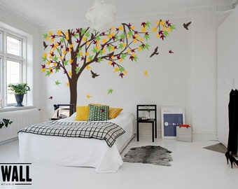 Large Autumn Tree decal, nursery vinyl decal, tree wall decal, Vinyl Wall Decal bird stickers K024