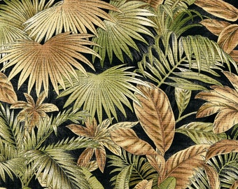 Black, Brown And Green Floral Leaf, Indoor And Outdoor Multipurpose And Upholstery Fabric By The Yard