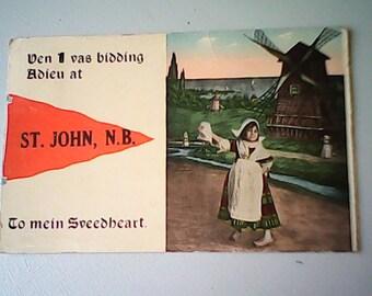 100 yr.  SWEETHEART POSTCARD  Dutch Kid Pennant  Series ---32 Des.