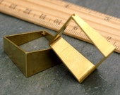25mm Large Square Brass Pendant Hollow Tube Rhombus Charms Finding rbe62(2pcs)