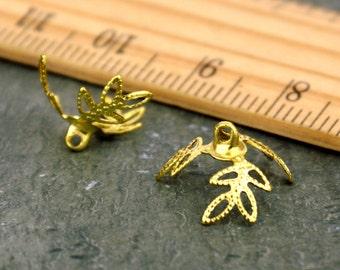 12mm Solid Brass Beadcap Filigree Vine Leaf Bead Caps rbc49(24pcs)