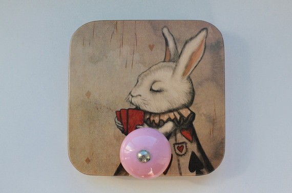 Wall hanging with bunny picture, plywood, so cute in your bathroom, kitchen or nursery