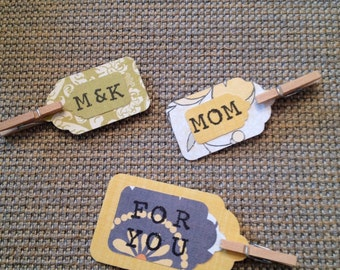 Handmade Paper Tags with Clip